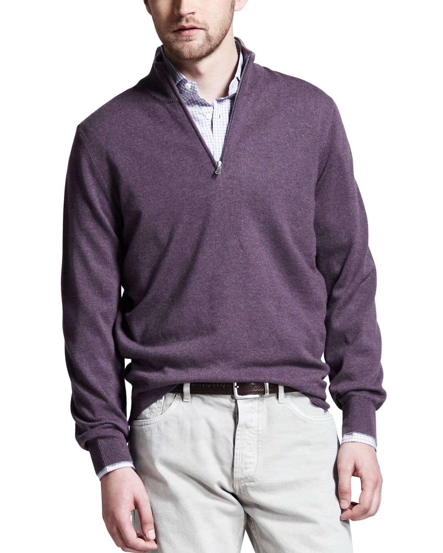 Mens Cashmere Half Zip Sweater, Grape   Brunello Cucinelli   Grape (XXL/56)