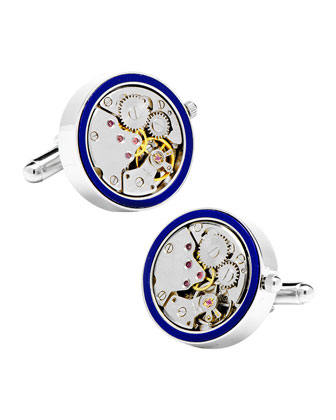 Watch Movement Cuff Links, Lapis