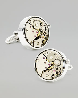 Stainless Steel Watch Movement Cuff Links