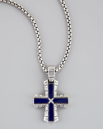 Silver & Lapis Cross Pendant Necklace