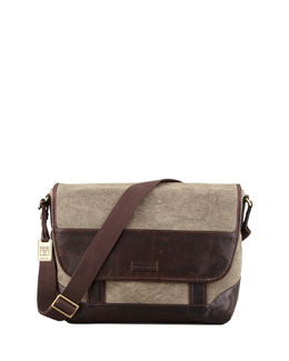 Frye Harvey Leather & Canvas Messenger Bag, Dark Brown