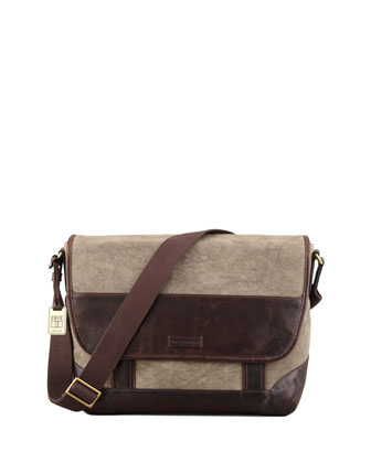 Harvey Leather & Canvas Messenger Bag, Dark Brown