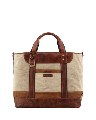 Harvey Men's Canvas-Leather Tote Bag