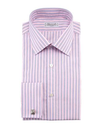Striped French-Cuff Dress Shirt, Pink/Blue