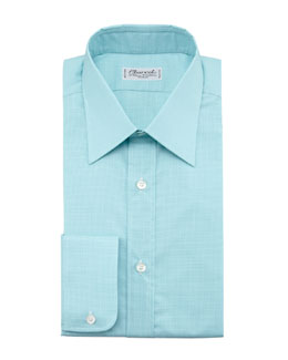 Charvet Check Dress Shirt, Light Green