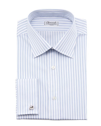 Striped French-Cuff Dress Shirt, White