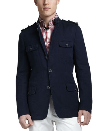 Cotton-Linen Military Blazer