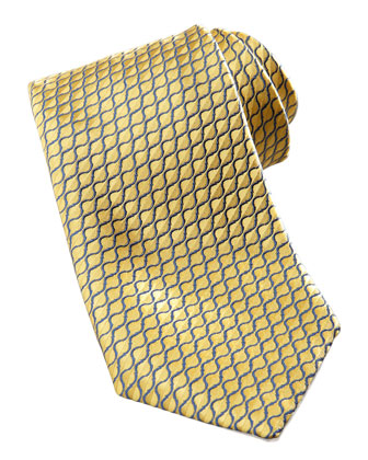 Diagonal-Neat Silk Tie, Yellow/Navy