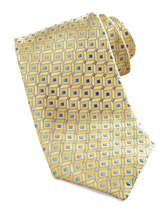 Geometric Dot Silk Tie, Yellow/Blue