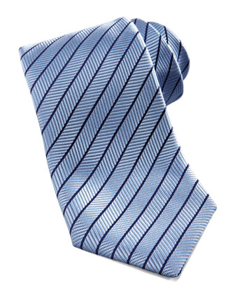 Neat-Stripe Silk Tie, Light Blue
