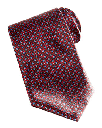 Floral Pattern Silk Tie, Red