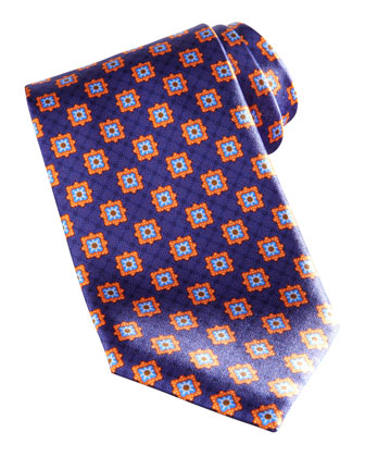 Square Medallion Silk Tie, Navy/Orange