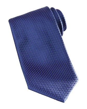 Textured Silk Tie, Navy