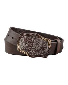 Robert Graham Paisley Tapestry Buckle Leather Belt, Brown