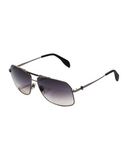 Alexander McQueen Men;s Skull Aviator Sunglasses, Dark Gray
