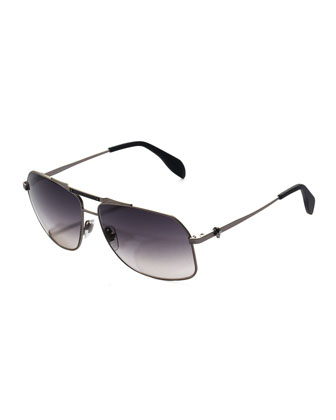 Men's Skull Aviator Sunglasses, Dark Gray