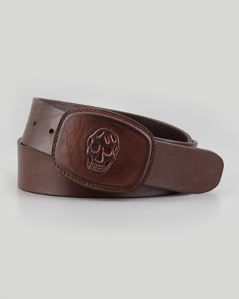 Skull-Embossed Leather Belt, Tan