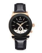 Croc-Embossed Two-Tone Watch, Black