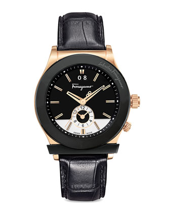 Croc-Embossed Two-Tone Watch, Black