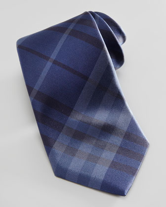 Tonal Check Silk Tie, Blue