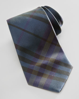 Tonal Check Silk Tie, Green/Blue