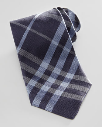 Check Silk Tie, Navy Blue