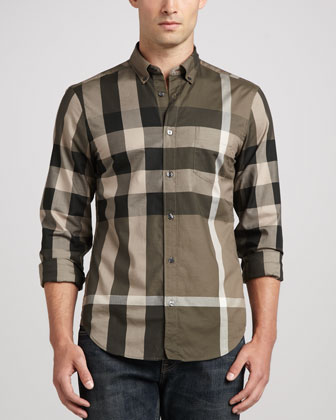 Large-Check Sport Shirt, Tan
