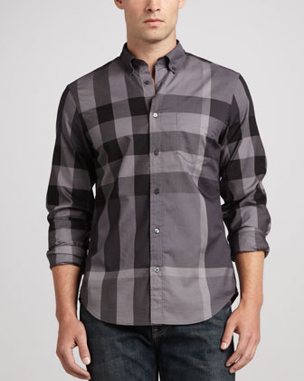 Fred Large-Check Sport Shirt, Charcoal