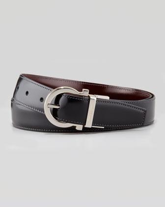 4-In-1 Reversible Gancini Belt, Black/Brown