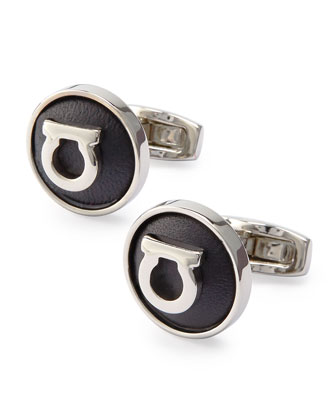 Gancini Leather Gancini Cuff Links, Black/Silvertone