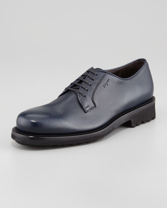Station Pebbled Lace-Up with Tread Sole, Blue
