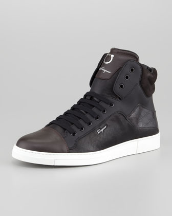 Stephen Two-Tone Hi-Top Sneaker, Black/Brown