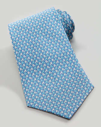 Two-Tone Dog-Print Silk Tie, Blue/Turquoise