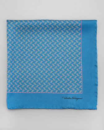 Gancini-Print Silk Pocket Square, Blue