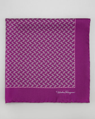 Gancini-Print Silk Pocket Square, Purple