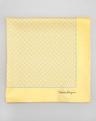 Gancini-Print Silk Pocket Square, Yellow