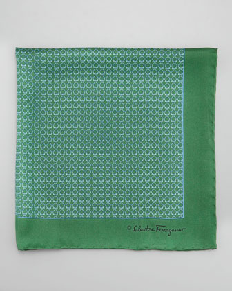 Gancini Links Silk Pocket Square, Green
