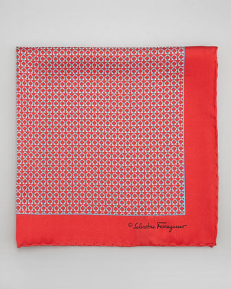 Gancini Links Silk Pocket Square, Red
