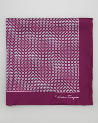 Gancini Links Silk Pocket Square, Purple