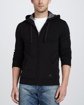 Fleece Full-Zip Hoodie, Black