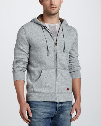 Heather-Fleece Hoodie, Pale Gray