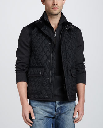 Quilted Snap-Button Vest, Black