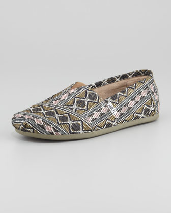 Diamond-Print Woven Slip-On