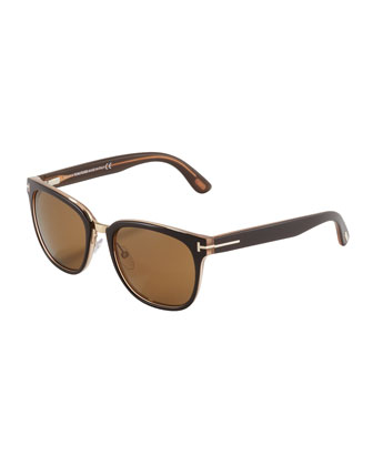 Rock Clubmaster Sunglasses, Shiny Brown