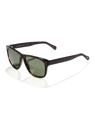 DBS Polarized Square Frame Sunglasses, Oak