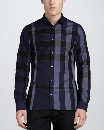 Iconic Check Sport Shirt, Navy