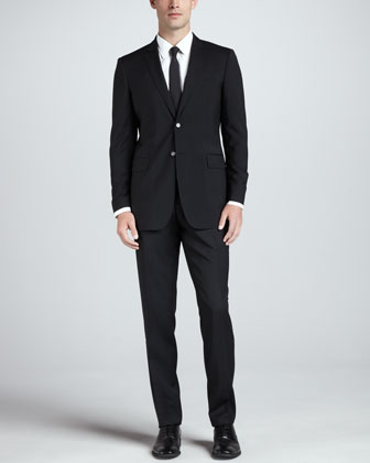 Modern Wool Suit, Black