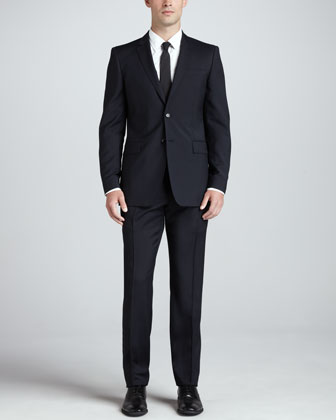 Modern Wool Suit, Navy