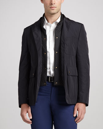 Tech-Fabric Sport Coat, Navy