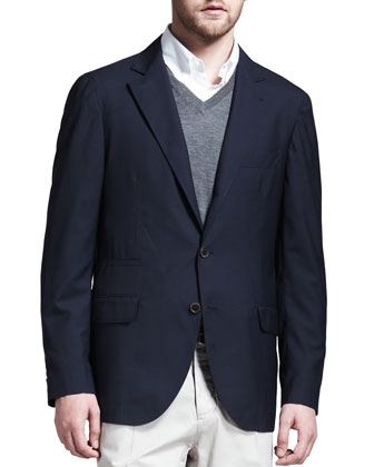 Deconstructed Travel Jacket, Button-Down Shirt, Fine-Gauge Tipped V-Neck ...